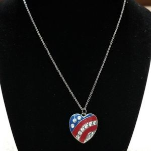 Flag Inspired Heart Pendant and Necklace